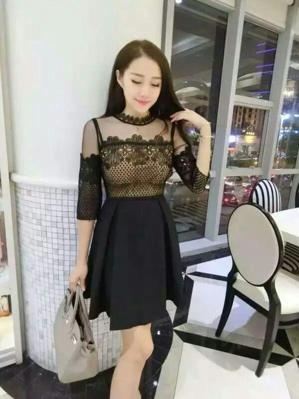 7b35dd364529 2016 Vintage Self Portrait Felicia Black embroidery Midi Dress Lace Mesh  Mini A Line dress