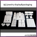 Elegant 24 Pc Set White Faux Leather Necklace Earring Ring Pendant Jewelry Display Stand Holder Showcase for Store Counter Top