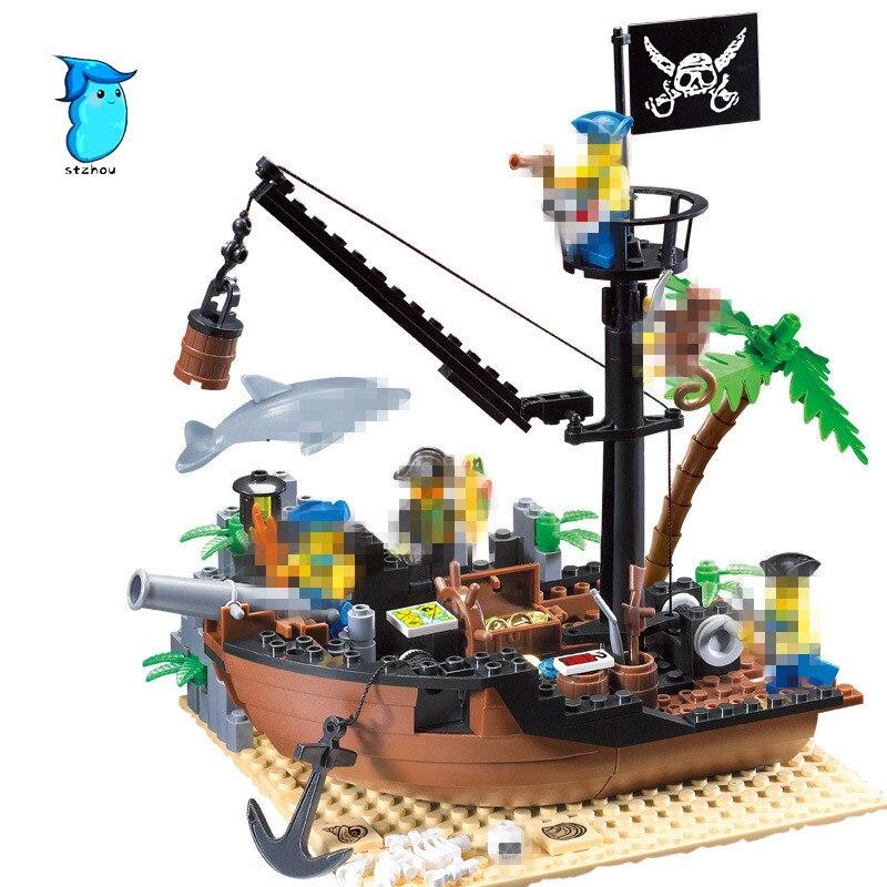 StZhou Building Blocks Pirate Ship Scrap Dock Building Blocks DIY 178pcs Blocks Playmobil Toys For Children Brinquedos 8 in 1 military ship building blocks toys for boys