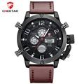 Top Brand CHEETAH Men Sports Watches Men's Quartz Luminous Digital LED Clock Man Leather Military Wrist Watch Relogio Masculino
