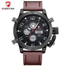 Top Brand CHEETAH Men Sports Relojes Luminosos de Cuarzo de Los Hombres LED Digital Reloj de Hombre de Cuero Militar Reloj de Pulsera Relogio masculino