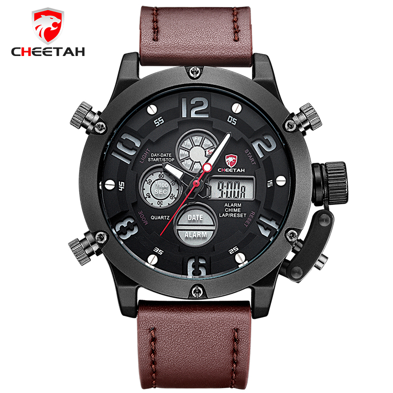 Top Luxury Brand CHEETAH Men Sports Watches Men's Quartz LED Clock Male Genuine Leather Military Wrist Watch Relogio Masculino top brand luxury waterproof men sports watches men s quartz led digital clock male army military wrist watch relogio masculino