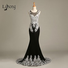 Real Photos Luxury Evening Dress with Sparkling Beading Crystals Chiffon Appliques Mermaid Sheer Black Evening Dresses