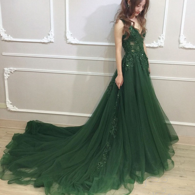 Vinca Sunny 2018 Emerald green Plus Size Tulle Appliques Long Formal ...
