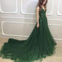 Vinca Sunny 2018 Emerald green Plus Size Tulle Appliques Long Formal Dresses Gowns V Neck zipper Sleeveless Robe De Soiree