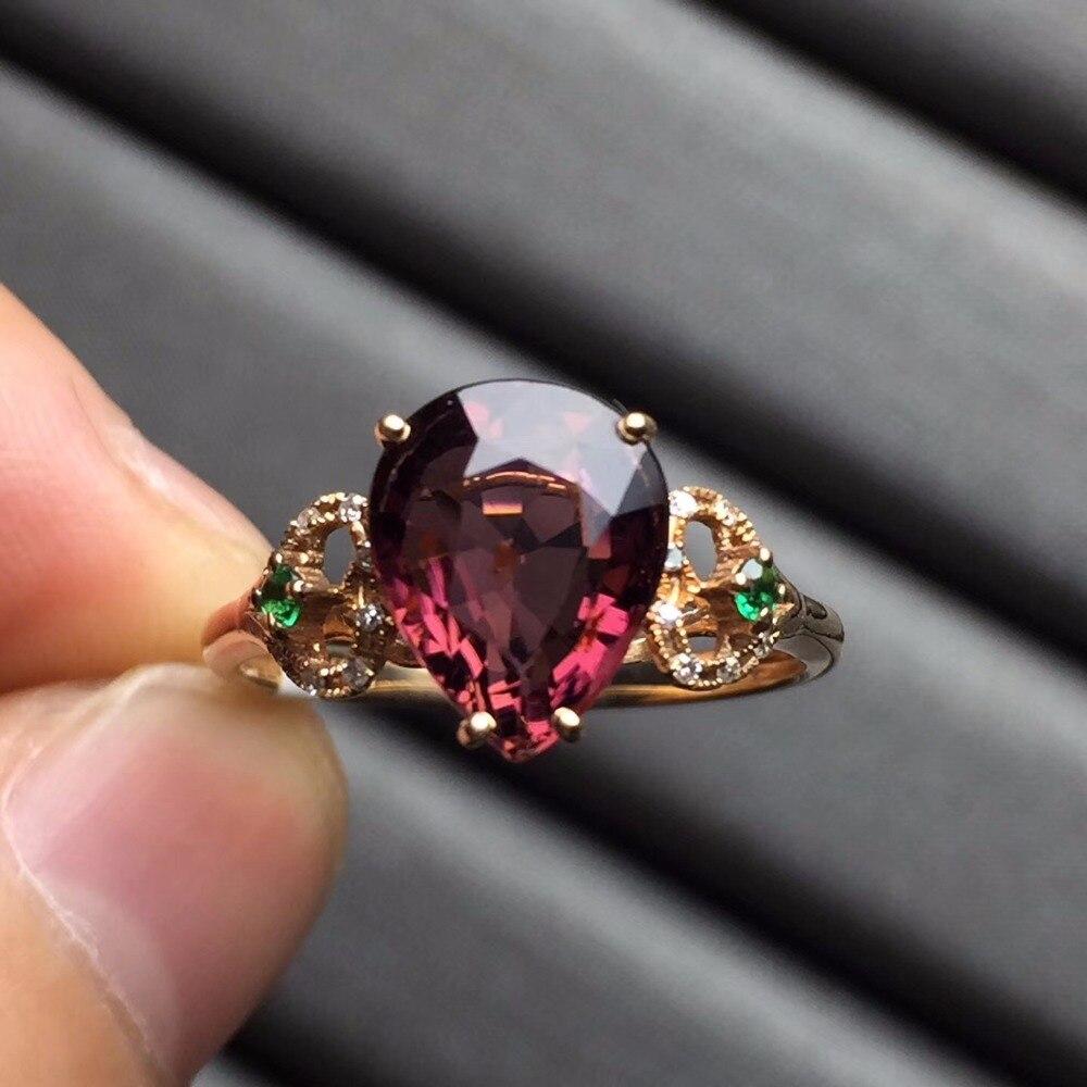 Fine Jewelry anillos oro Настоящее 18 К розовое золото AU750 100% натуральный красный Бразилии камень Турмалин женские Кольца для Для женщин изысканные кол