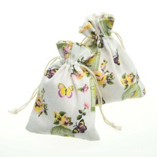 10pcs/bag Butterfly Flower Jewelry Packing Cotton bag 10x14cm,packaging bag Drawstring Gift bags & Pouches Christmas/Wedding Bag 10x14cm linen cotton drawstring bag jewelry bag decorative bags christmas wedding gift pouch product packaging bags