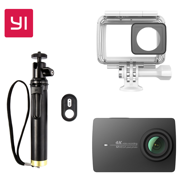 YI 4K Action font b Camera b font Bundle With Waterproof case and Selife Stick 2