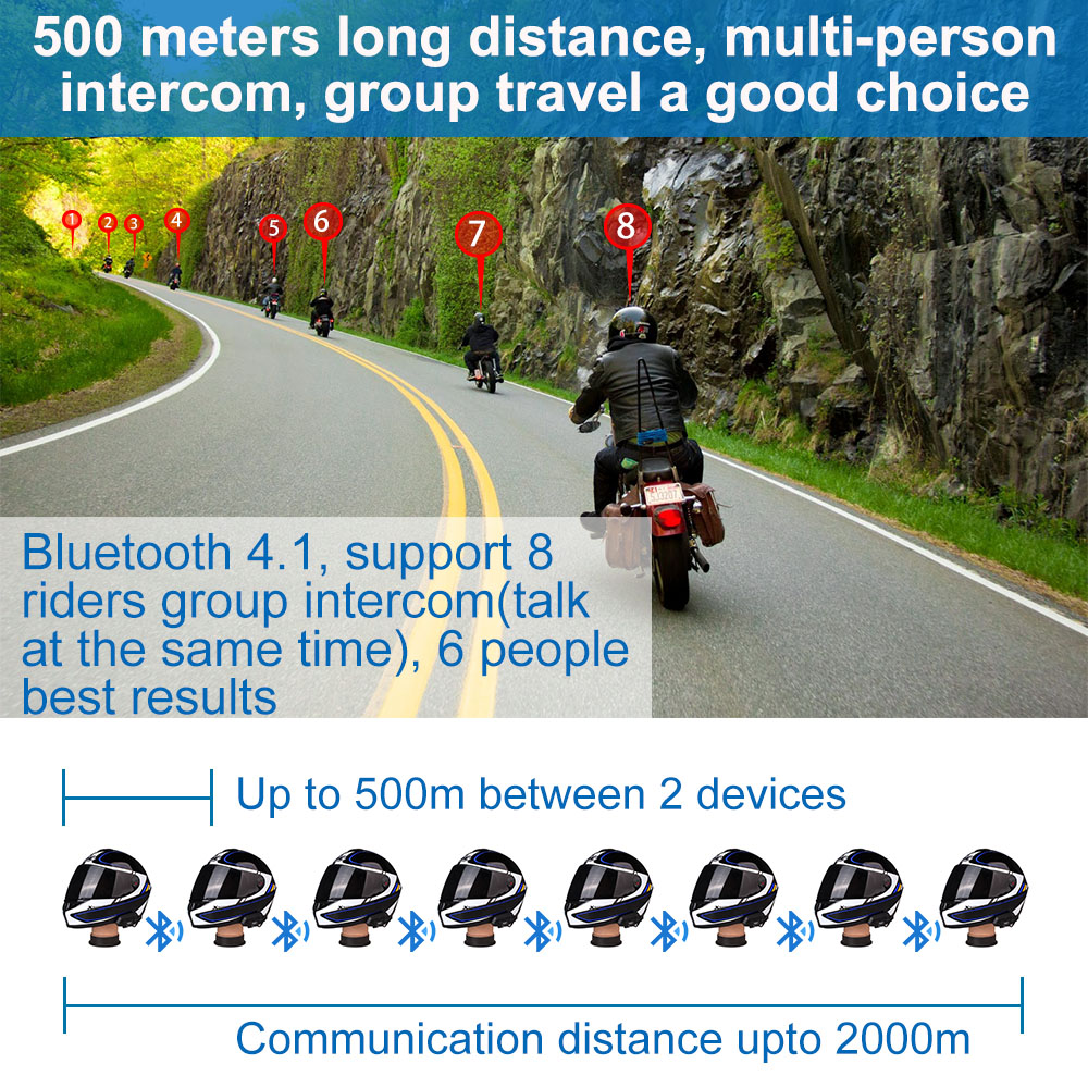 Fodsports M1-S Pro helm intercom motorrad helm bluetooth headset 8 fahrer 2000M gruppe intercom BT Sprech
