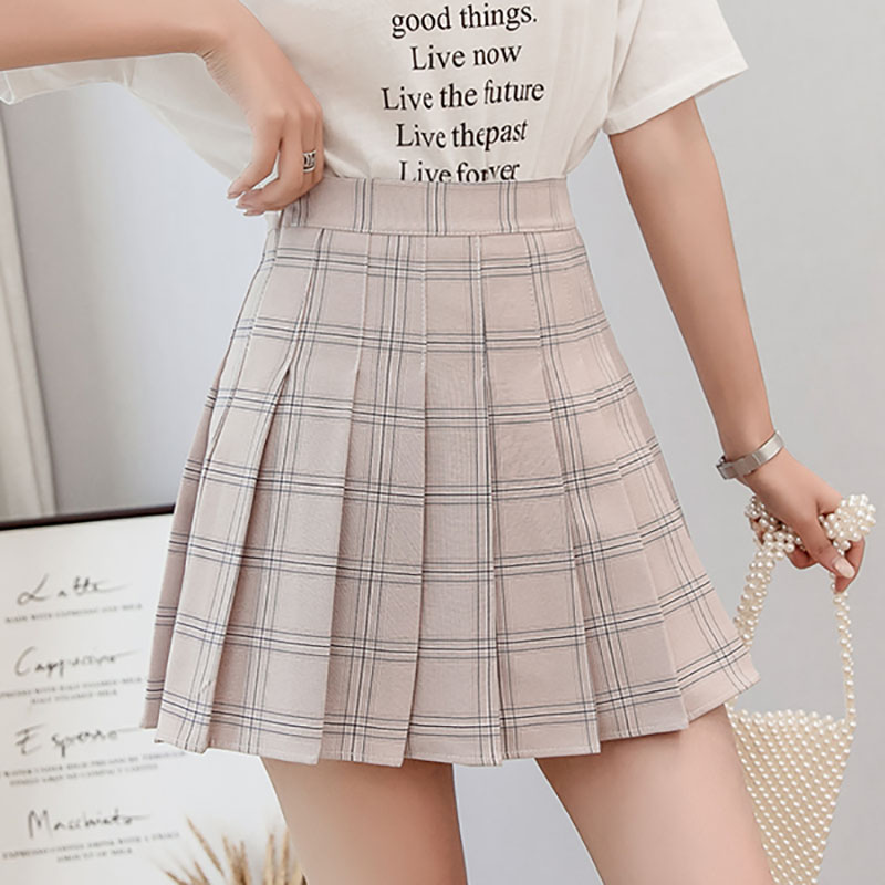 Preppy Lolita Style Plaid Mini Skirt Women Summer New Khaki Pink High Waist Pleated Skirt Ulzzang Kawaii Schoolgirl Short Skirt