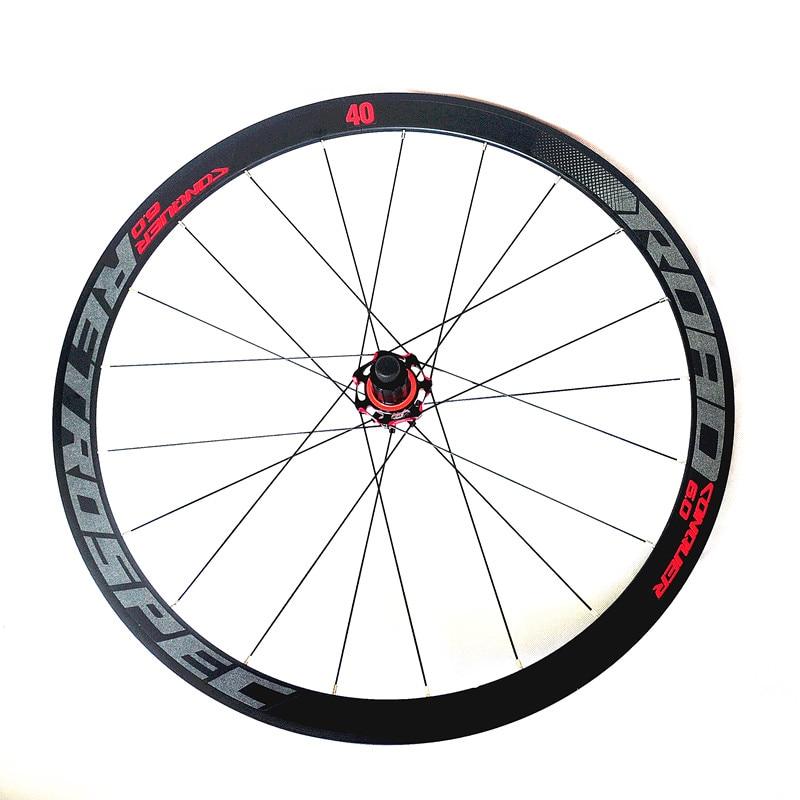 Ultra-light aluminum alloy carbon fiber hub colorful back cursor 700C wheel set