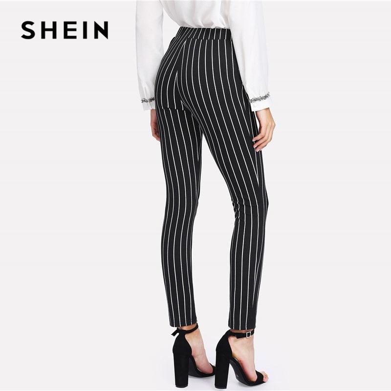 SHEIN Vertical Striped Skinny Pants Women Elastic Waist Pocket OL Style Work Trousers 2018 Spring Mid Waist Long Pencil Pants 1