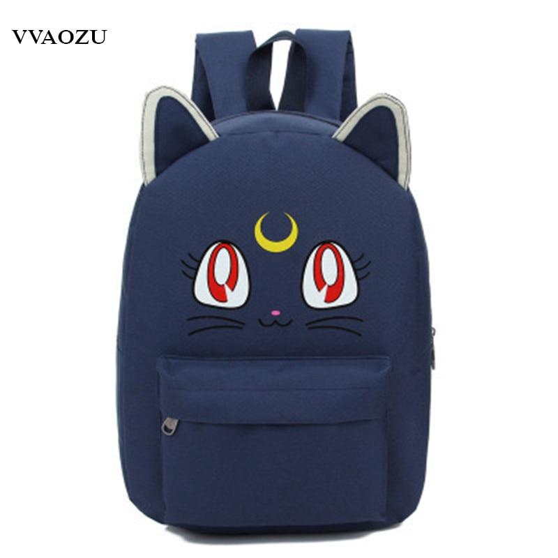 Harajuku Sailor Moon Luna Cosplay Backpack Cat Shoulder Bag Schoolbags For Teenagers Bookbag Rucksack Bagpack Mochila Escolar