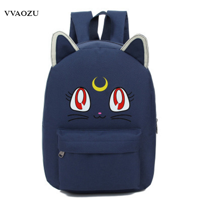 Harajuku Sailor Moon Luna Cosplay Backpack Cat Shoulder Bag Schoolbags for Teenagers Bookbag Rucksack Bagpack Mochila Escolar