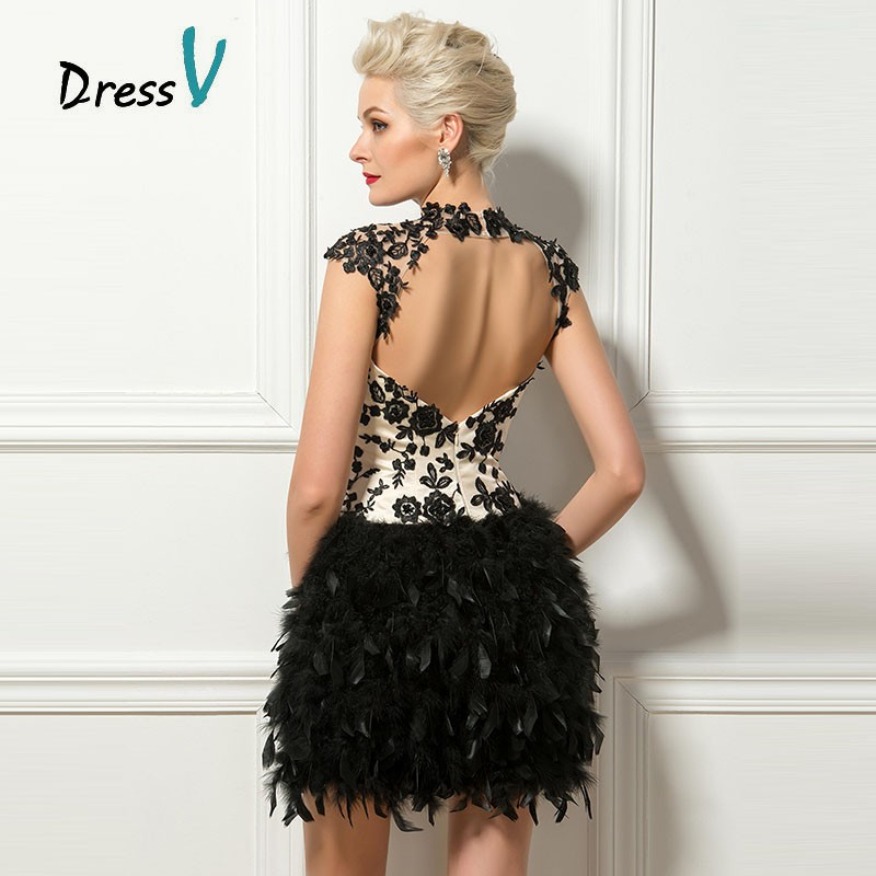 9c92847d12 Dressv Black Short Feathers Cocktail Dresses Sexy Backless High Neck Cap  Sleeves Lace Appliques Homecoming Party Cocktail Dress