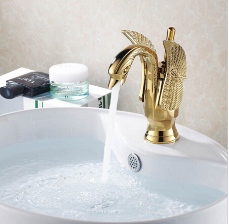 New Arrivals Luxury Brass Swan Style Gold Faucet Bath Basin Faucet Sink  Mixer Tap Bathroom Tap