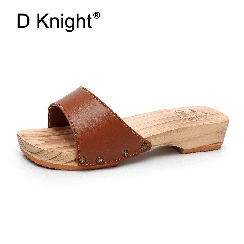 Women's Flip-flops Summer Beach Shoes for Women 2018 Roman Cork Sandals Gold Barefoot Slipper Platform Heeled Chunky Lady Sandal