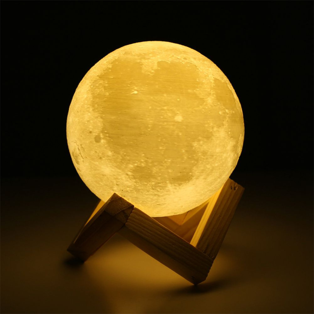 USB Rechargeable 3D Print Moon Lamp 2 Color Change Touch Switch Bedroom Bookcase Night Light Home Decor Creative Gift To Friends