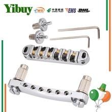 Yibuy Brass Roller Saddle Tune-O-Matic Guitar Bridge Chrome