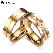6MM Stainless Steel Wedding Ring For Lovers IP Gold Color Crystal CZ Couple Rings Set Men
