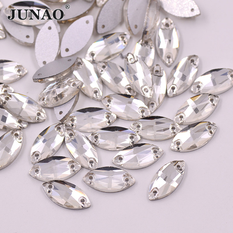 JUNAO 50pcs 7*15mm Sew On Clear Crystal Glass Rhinestones Flat Back Crystals Stones Horse Eye Shape Sewing Strass For Clothes
