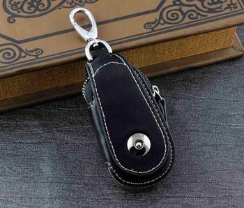 Genuine Leather Wallet Mens Womens Key Rings Holder Chain Wallet Case black KW4