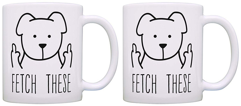 US $26 24 18% OFF|Dog Lover Mug for Men Fetch These Funny Print Mug Middle  Finger Rude Doggy Gifts for Dogs 2 Pack Gift Coffee Mugs Tea Cups White-in