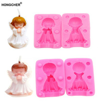 3D stereo angel girl wings boy fondant cake silicone mold chocolate mold, dessert decoration candle