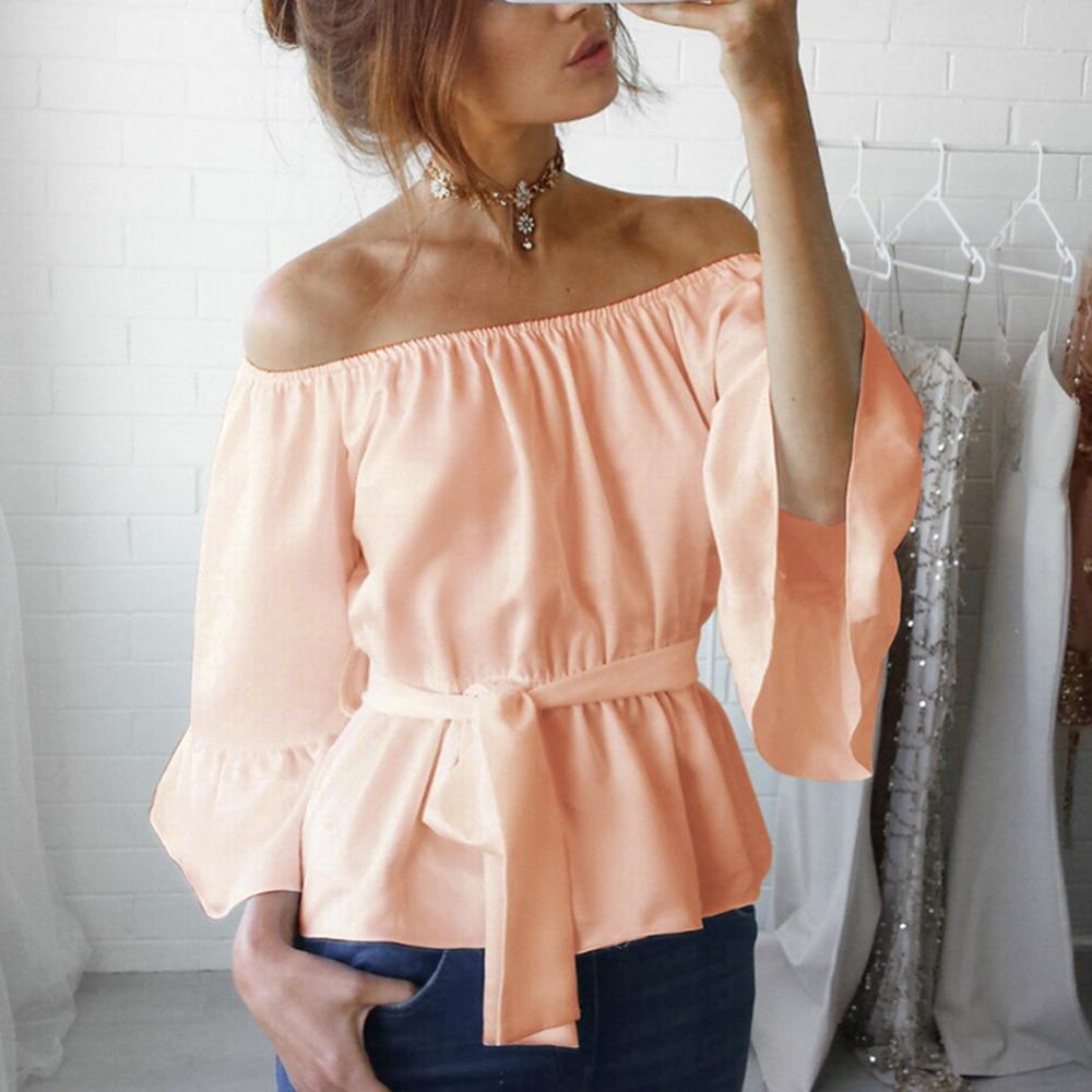 Ladies T Shirt 2018 Summer Short Flare Sleeve Tops Loose