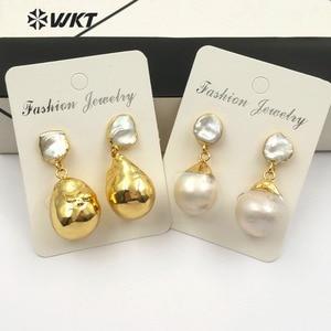 Image 5 - WT E487 duży biały barokowy perłowy kolczyk pozłacane perły biżuteria losowy kształt Flameball perłowy kolczyk biżuteria ślubna dla nowożeńców