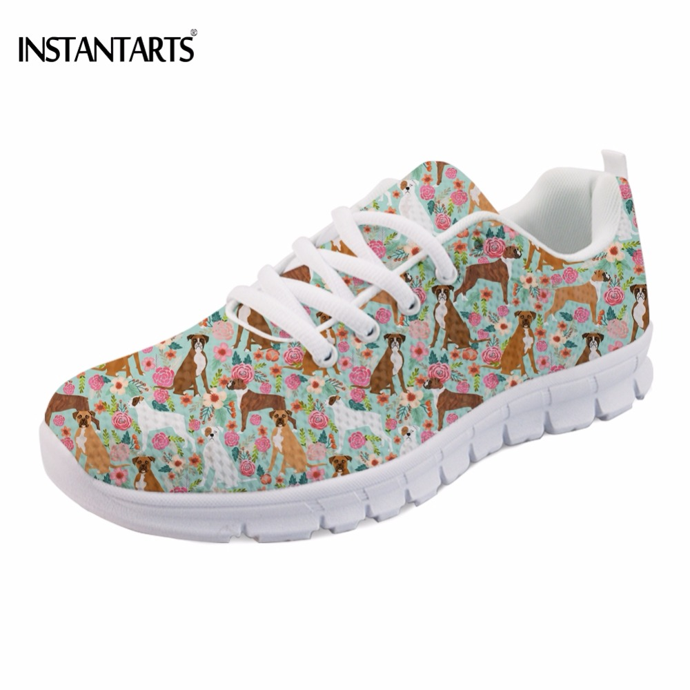 INSTANTARTS Brand Design Women Spring Sneakers Cute Puppies Boxer Dog Print Women's Lace-up Flats Shoes Casual Walking Footwear instantarts cute glasses cat kitty print women flats shoes fashion comfortable mesh shoes casual spring sneakers for teens girls