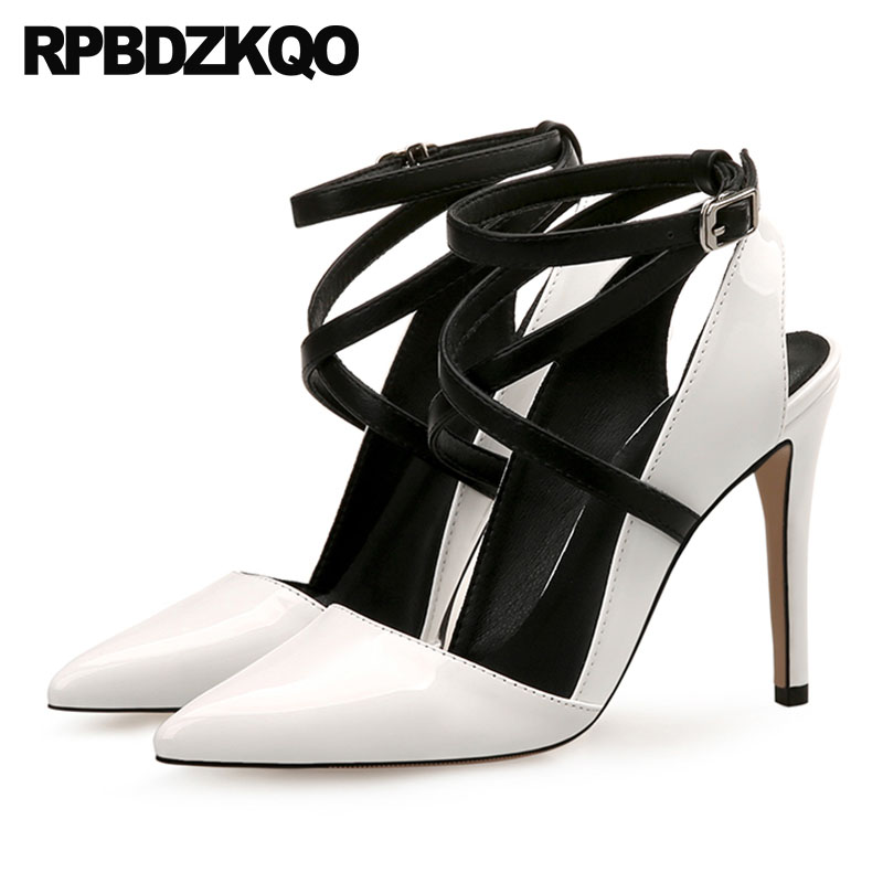 Party 8cm Super Pointed Toe Thin Sexy White High Heels Shoes Ankle Strap Tie Up Pumps 12 44 Women Ultra Strappy Big Size 11 43 big size 32 44 ankle strap patch color super hoof high heels platform shoes woman spring summer pumps party dress shoes sexy