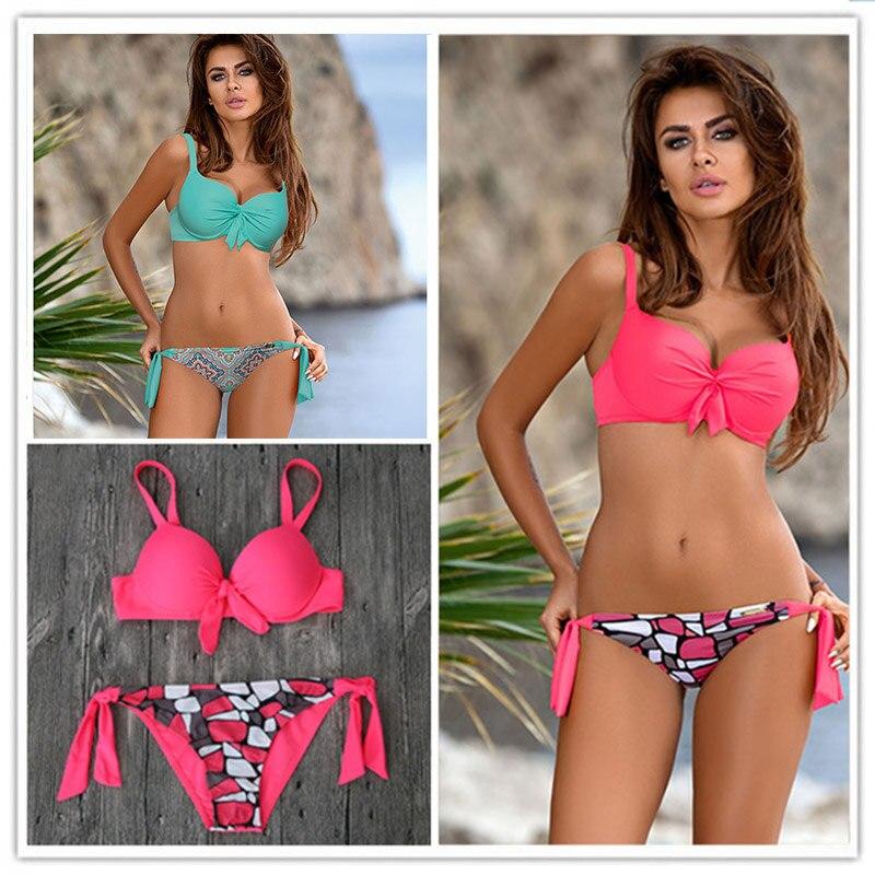 2017 Nuovo Bikini Sexy Delle Donne Costume Da Bagno Push Up Costumi Da Bagno Solido fasciatura del Halter Bikini Set Beach Costume Da Bagno Swim Wear Biquini XXL