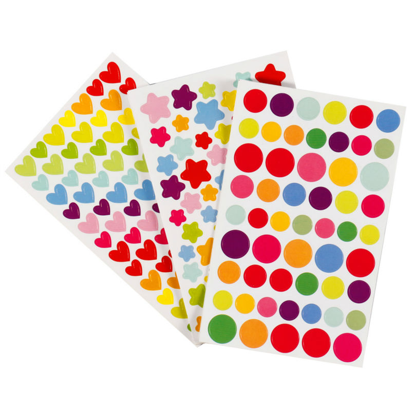 3 Sheet/lot Scrapbook Stickers Dot Star Love Paper Diary Scrapbooking Book Stickers Fashion Cool Memo Color Seal
