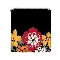 Hot Sale 3 Size Waterproof Fabric Black And Blossom Flower Shower Curtain Traditional Chinese Plum Flower