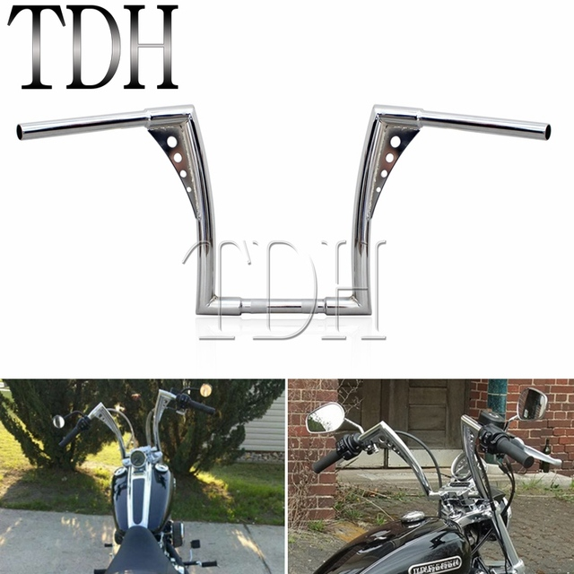 "Chrome Custom Motorcycle Handlebar Ape Hanger 1 1/4"" Fat Bar 12"" Rise 30 1/2"" Wide Drag Bars for Harley Sportster Touring Dyna"