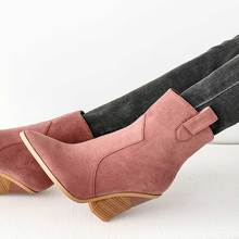 FINDHER Women Chelsea Boots Wooden Chunky High Heel Shoes Woman Slip On Pointed Toe Autumn Dressy Mid Calf Boots Plus Size 34-46 все цены
