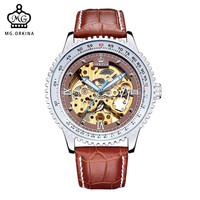 MG. ORKINA Male Clock Leather Strap Skeleton Watch Lagrge Case Geared Bezel Mechanical Mens Watches relogio automatico masculino