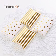 20 PCS Candy Box Gift Packaging Bag Cookie Chocolate Kraft Paper Wedding Gift Box Party Favors Ins Fashion Pillow Box Golden Dot
