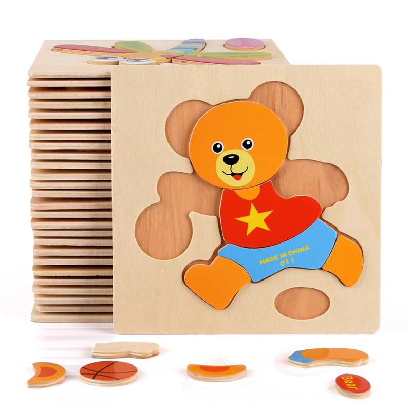 Baby Toys Wooden Puzzle Cute Cartoon Animal Intelligence Kids Educational Brain Teaser Children Tangram Shapes Jigsaw Gifts