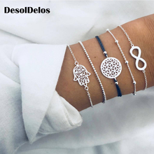 5PCS/SET Vintage Bohemia Silver Color Hollow Out Palm Charm Bracelet Sets For Women Rope Chain Bracelets Beads Jewelry Gifts chic faux zircon hollow out palm foot bracelet