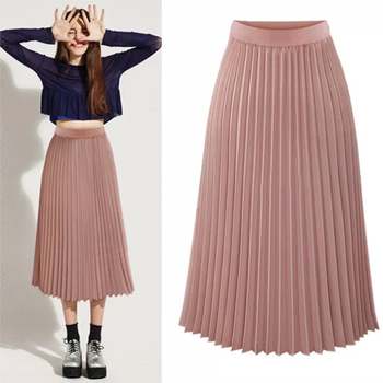 Pink Pleated Skirt Women High Waist Pleated Midi Skirt Chiffon A line Chic Elegant High Quality Winter Autumn Skirt YYW-8889 box pleated chiffon skirt