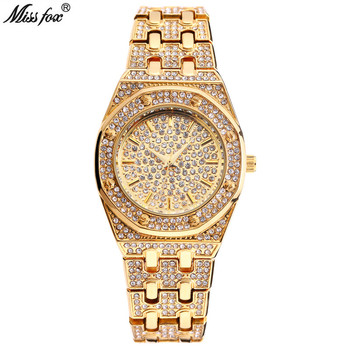 Montre Femme Miss Fox Women Watch Luxury Brand Fashion Waterproof Crystal Diamond Quartz Wristwatch Clock Gold Relogio Feminino miss fox brand luxury womens dress watch full diamond rhinestone stainless steel gold quartz female wristwatch relogios feminino