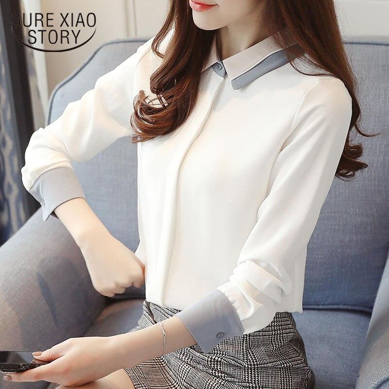 2018 новые весенние шифоновые женские блузки, женские топы, модные повседневные блузки с длинными рукавами, элегантные тонкие женские рубашк...
