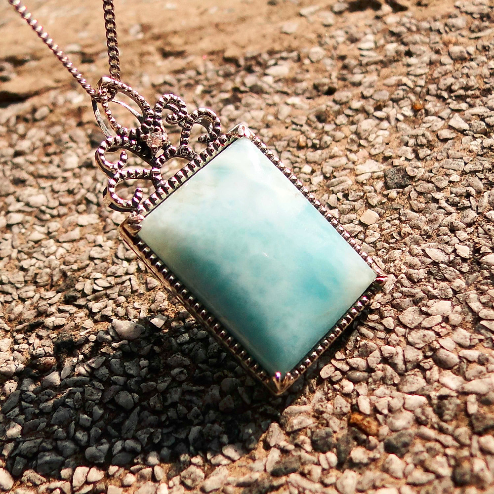 Natural Larimar Pendant Rectangular Aqua Blue Pendant in Solid 925 Sterling Silver Pendant Fine Jewelry for Lady Girls
