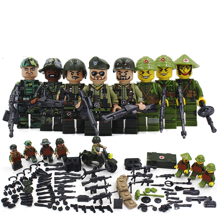 Vietnam War WW2 US Army SWAT Soldier Military CS SWAT Forces Building Blocks Figures Bricks Educational Toys Boys Children Gifts vietnam the real war