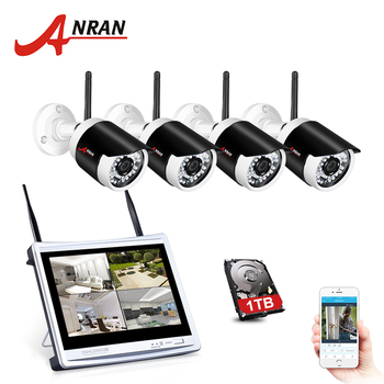 ANRAN Plug& Play 1080P HD Wireless 4CH 12Inch LCD Screen NVR Kit P2P  Video Surveillance WiFi Indoor Outdoor  CCTV Camera System