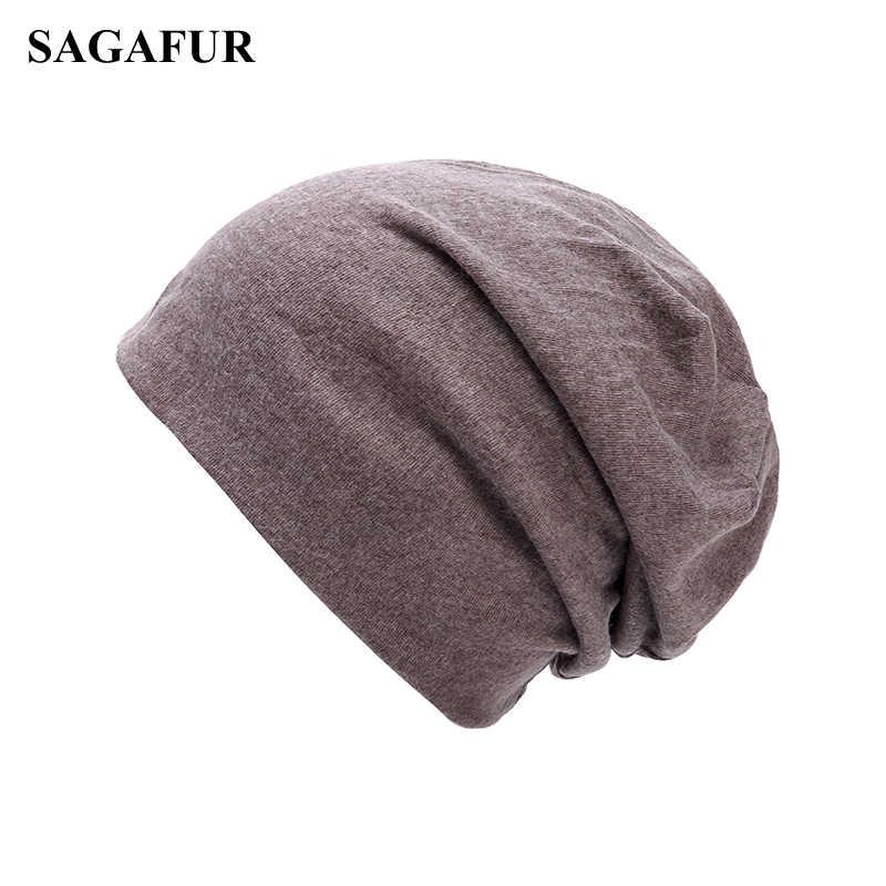 62a5c7c0b9611 Soft Cotton Skullies Beanies Men Cap Women s Winter Hat Female Solid Color  Outdoor Bonnet Slouchy Knitted