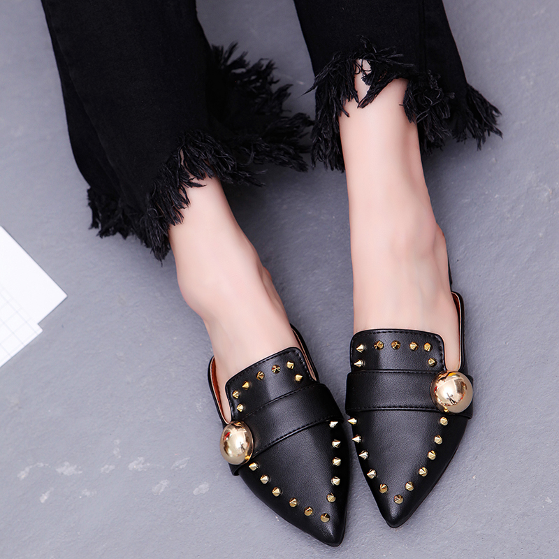 Moxxy Brand Women Shoes 2018 Spring Black Rivet Mules Slippers Black White Flats Slip On Loafers Genuine Leather Flip Flops