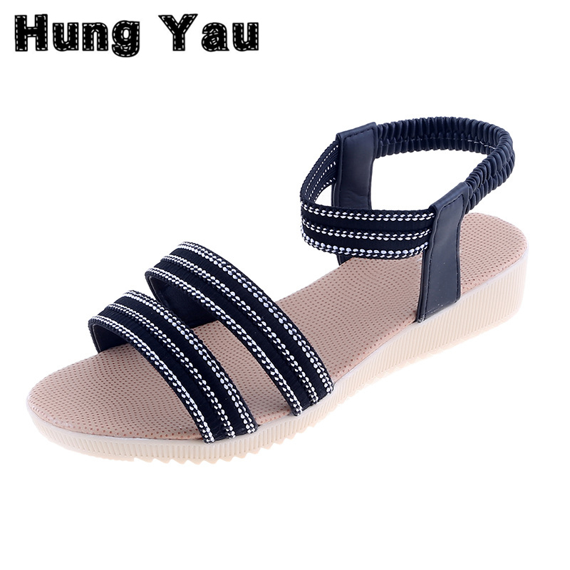 sandalias mujer Summer Style Gladiator Sandals Women Flat 2017 Fashion Sandals Comfortable Ladies Ankle Straps Shoes Plus Size 9